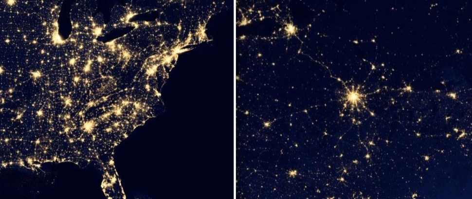 From Space: Eastern portions of the American/Canadian urban system demonstrate a decentralized structure (left). The western portion of the Russian urban system is a textbook centralized system (right). Both images are the same scale and are courtesy of NASA.