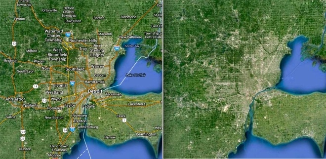 Detroit Metropolitan Region with labels (left) and without (right).