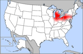 The American Rust Belt shaded in red.