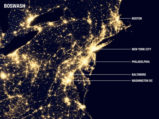 The Northeast Megalopolis (aka: BosWash). Image courtesy of ArchDaily