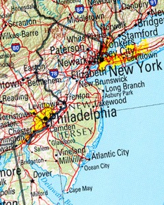 New Jersey state map. The state is sandwiched between NYC and Philadelphia, both of which are in different states.