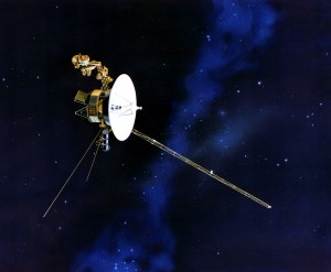 The Voyager 1 Spacecraft. The first manmade object to leave the solar system. Image courtesy of NASA